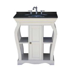 "30"" Vineta Single Sink Bathroom Vanity - White/Black Top"