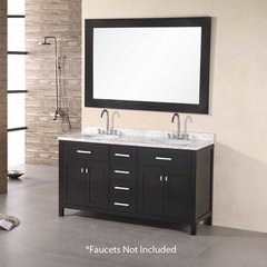 "61"" London Double Sink Bathroom Vanity - Espresso"