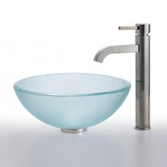 "14"" Frosted Vessel Sink w/ Faucet - Frosted/Satin Nickel"