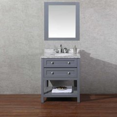 "30"" Marla Single Vanity - Gray/Carrara White Top"