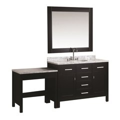 "48"" London Single Sink Vanity w/ Make-up Table - Espresso"