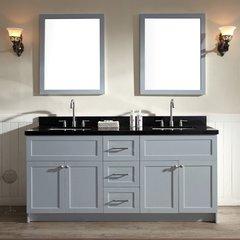 "73"" Hamlet Double Sink Vanity w/ Black Granite - Gray"