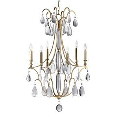 Crawford 6 Light Chandelier - Aged Brass