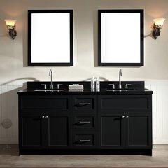 """73"""" Hamlet Double Sink Vanity w/ Black Granite - Black"""