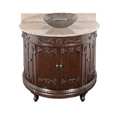 "36"" Semi-Circle Vessel Sink Bath Vanity - Espresso/Beige Top"