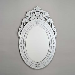 """Radiance Venetian 26"""" Wall Mount Oval Mirror - Etched"""