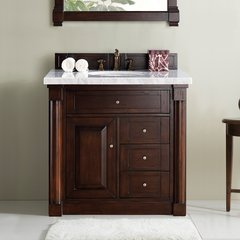 "36"" New Haven Single Vanity w/ Carrara White Top-Burn Mahog"