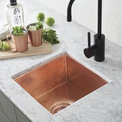 "13"" Square Cantina Undermount Bar Sink - Polished Copper"