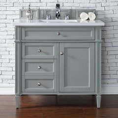 "33"" Victoria Single Vanity w/ Snow White Top-Espresso Oak"