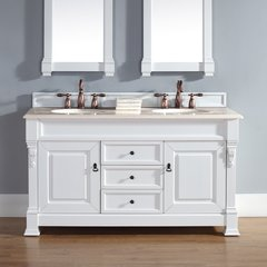 "60"" Brookfield Double Vanity w/ Galala Beige Top-Cott White"