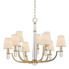 Dayton 9 Light Chandelier - Aged Brass