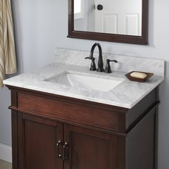 "25"" x 22"" Single Bowl Vanity w/ Trough Basin - Carrara White"