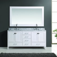 "72"" London Double Sink Bathroom Vanity w/ Mirror - White"