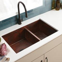"33"" x 22"" Cocina Undermount Double Bowl Sink -Antique Copper <small>(#CPK275)</small>"