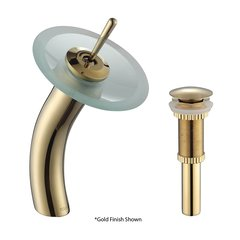 Vessel Filler w/ Glass Spout- Satin Nickel/Frosted Glass