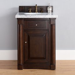 "26"" New Haven Single Vanity w/ Carrara WhiteTop-Burn Mahog"