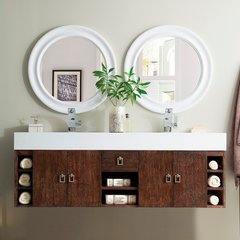 "59"" Tiburon Double Vanity w/ Brite White Top-Coffee Oak"