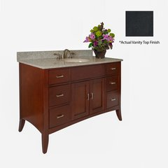"48"" Metro Single Sink Vanity w/ Black Top - Brown Cherry"