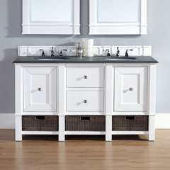"60"" Madison Double Vanity w/ Absolute Black Top-Cott White"