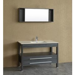 "48"" A-5243CR Single Vanity w/ White Ceramic Top-Charcoal Gra"