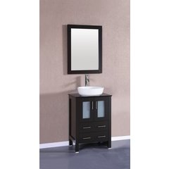 "24"" AB124 Single Vanity w/ Tempered Glass Top-Espresso"