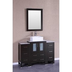 "48"" AB124 Single Vanity w/ White Carrara Top-Espresso"