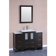 "48"" AB124 Single Vanity w/ Tempered Glass Top-Espresso"