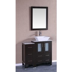 "36"" AB124 Single Vanity w/ White Carrara Top-Espresso"
