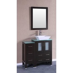"36"" AB124 Single Vanity w/ Tempered Glass Top-Espresso"