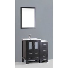 "36"" AB124 Single Vanity w/ White Ceramic Top-Espresso"