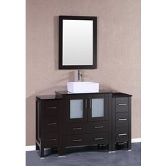 "54"" AW130 Single Vanity w/ Tempered Glass Top-Espresso"