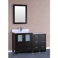 "54"" AW130 Single Vanity w/ Carrara White Top-Espresso"