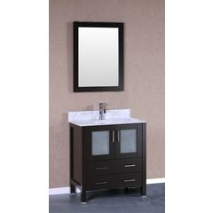 "30"" AW130 Single Vanity w/ Carrara White Top-Espresso"