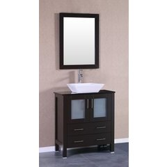 "30"" AW130 Single Vanity w/ Tempered Glass Top-Espresso"