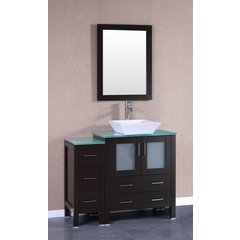 "42"" AW130 Single Vanity w/ Tempered Glass Top-Espresso"