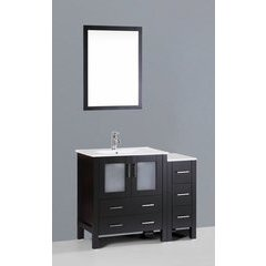 "42"" AW130 Single Vanity w/ White Ceramic Top-Espresso"