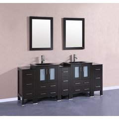 "84"" AB224BGU3S Double Vanity w/ Tempered Glass Top-Espresso"