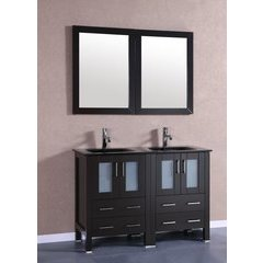 "48"" AB224BGU Double Vanity w/ Tempered Glass Top-Espresso"