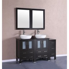 """60"""" AB224BWLBG1S Double Vanity w/ Tempered Glass Top-Espress"""