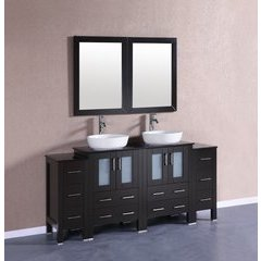 """72"""" AB224BWLBG2S Double Vanity w/ Tempered Glass Top-Espress"""