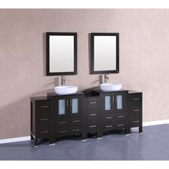 """84"""" AB224BWLBG3S Double Vanity w/ Tempered Glass Top-Espress"""