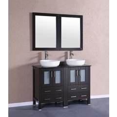 """48"""" AB224BWLBG Double Vanity w/ Tempered Glass Top-Espresso"""