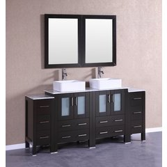 "72"" AB224CBECM2S Double Vanity w/ White Carrara Top-Espresso"