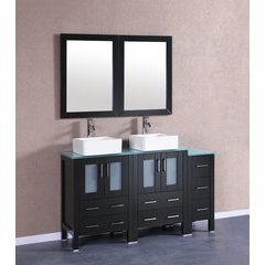 "60"" AB224CBECWG1S Double Vanity w/ Tempered Glass Top-Espres"