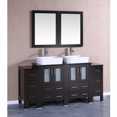 "72"" AB224RCBG2S Double Vanity w/ Tempered Glass Top-Espresso"