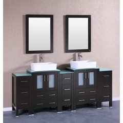 "84"" AB224RCCWG3S Double Vanity w/ Tempered Glass Top-Espress"