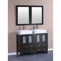 "48"" AB224RCCWG Double Vanity w/ Tempered Glass Top-Espresso"