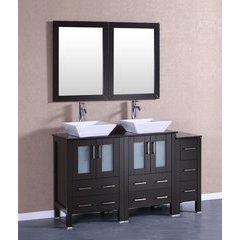 "60"" AB224SQBG1S Double Vanity w/ Tempered Glass Top-Espresso"