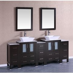 "84"" AB224SQCM3S Double Vanity w/ White Carrara Top-Espresso"