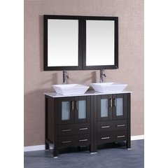 "48"" AB224SQCM Double Vanity w/ White Carrara Top-Espresso"